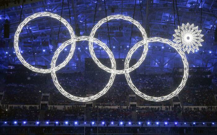 One of the Olympic rings fails to open at the opening ceremony of the 2014 Winter Olympics in Sochi, Russia. (AP)