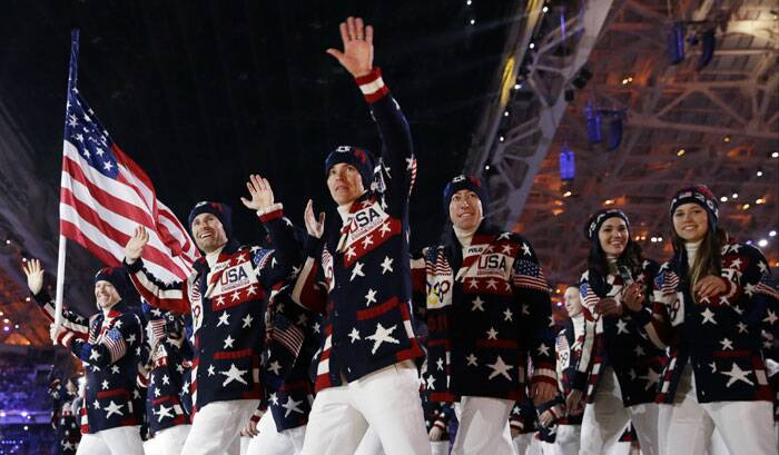 The United States team makes an entrance during the opening ceremony of the 2014 Winter Olympics in Sochi, Russia. (AP)