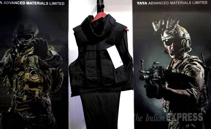 """It is for this reason, we must be prepared to meet any challenge posed to our territorial integrity and sovereignty,"" the minister said in his inaugural address at DefExpo-2014. <br /> A body armour on display at the Defexpo India 2014 in New Delhi on Thursday. (IE Photo: Oinam Anand)"