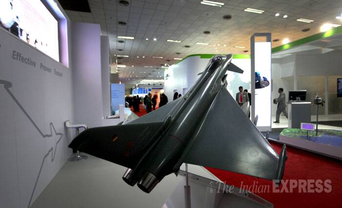 Antony underscored India's thrust on indigenisation of defence industry which, he said, offers new opportunities to the private sector. <br /> A model of Euro fighter Typhoon on display at the Defexpo India 2014 in New Delhi on Thursday. (IE Photo: Oinam Anand)