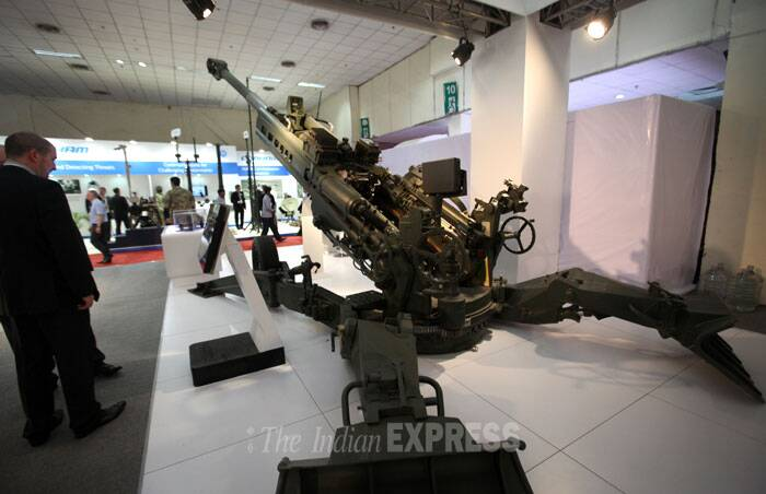 BAE systems' 155mm towed howitzer, M777, on display during the Defexpo India 2014 bin New Delhi on Thursday. (IE Photo: Oinam Anand)