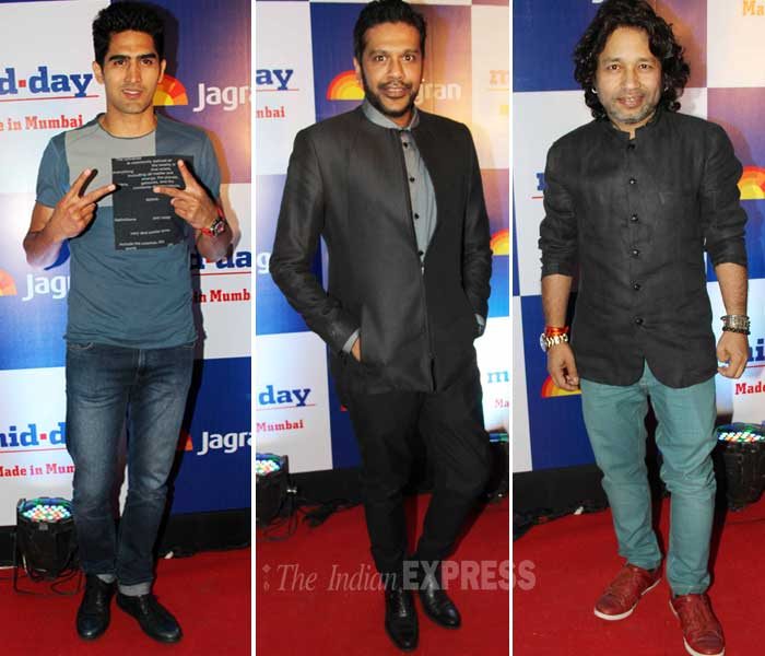 In black and Blue – Vijender Singh, Rocky S, Kailash Kher. (Photo: Varinder Chawla)