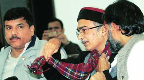 AAP leaders Prashant Bhushan and Yogendra Yadav in New Delhi on Tuesday. (Prem Nath Pandey)