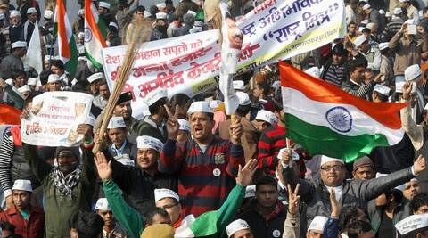 One of the Jan Sabhas the Aam Aadmi Party held before the polls that brought it to power. (PTI)