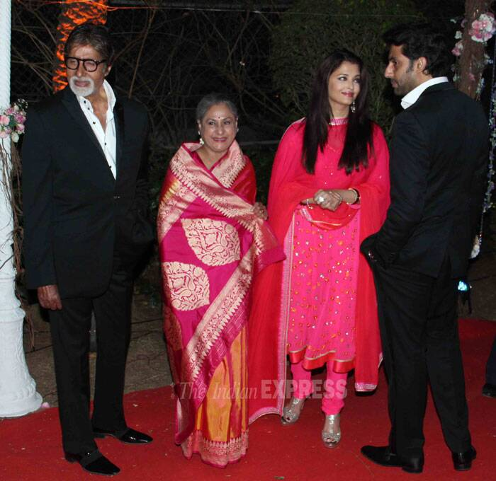 The Bachchan clan – Amitabh Bachchan, wife Jaya, Abhishek and Aishwarya at the event. (Photo: Varinder Chawla)
