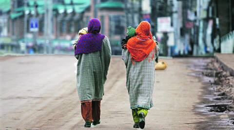 A deserted road in Srinagar on Sunday.Reuters