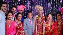 Watch Hema, Dharmendra get emotional at Ahana's wedding
