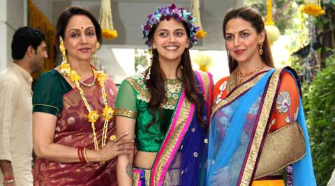 Hema Malini with her two daughters.