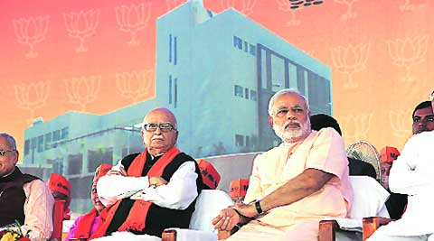 Senior BJP leader L K Advani and Chief Minister Narendra Modi