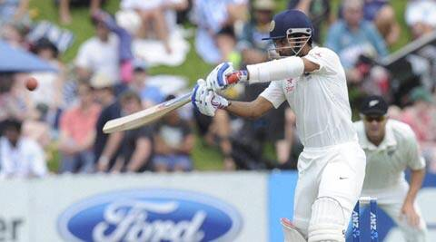 Ajinkya Rahane hits a ball from New Zealand's Neil Wagner on Day 2 of the second Test (AP)