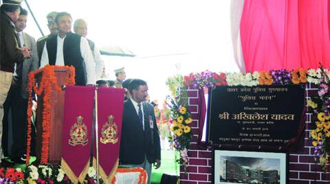 CM Akhilesh Yadav lays the foundation of a police headquarters at Gomti Nagar Extension in Lucknow on Saturday. Pramod Singh