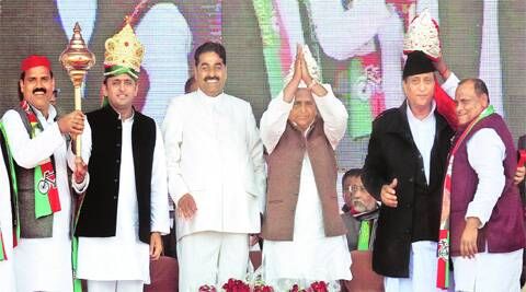 Samajwadi Party chief Mulayam Singh Yadav along with son and CM Akhilesh Yadav and senior party leader Azam Khan at an election rally Gonda Monday.
