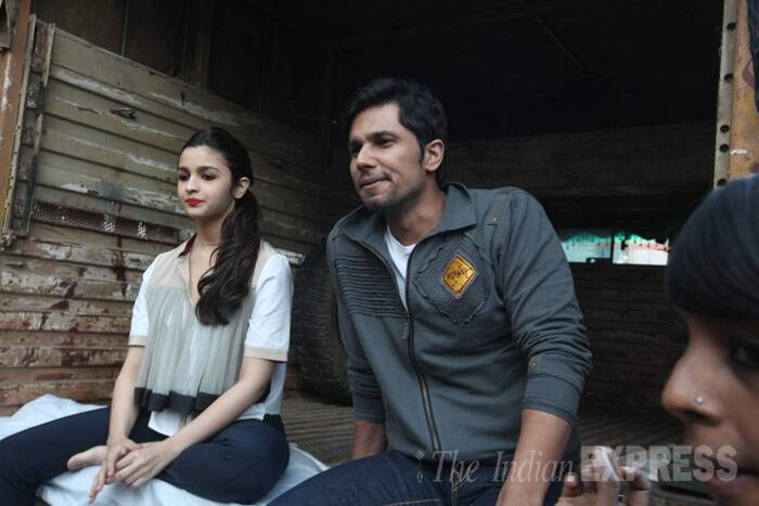 Alia Bhatt and Randeep Hooda, who will be soon seen in Imtiaz Ali's 'Highway', literally hit the highway as they began promotions of their upcoming movie in Mumbai on Tuesday (February 11).  (IE Photo: Dilip Kagda)