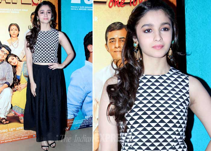 Alia Bhatt looked pretty in the long black skirt and monocrome top ...