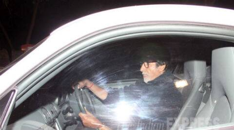 Amitabh Bachchan arrived for the Gunday screening in his classy white Porsche Carrera. (Photo: Varinder Chawla)