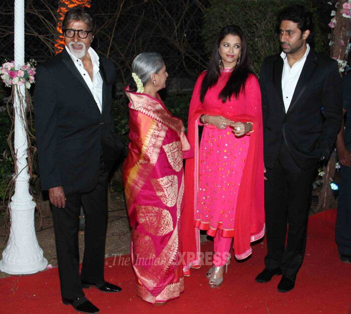 Aishwarya Rai Bachchan was pretty in a bright pink churidar suit, mother-in-law Jaya Bachchan picked a lovely sari and the men were suave in formal attire. (Photo: Varinder Chawla)