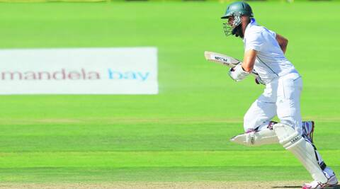 Hashim Amla was hit by Mitchell Johnson on the helmet once again, but displayed positive intent to take SA to a position of strength in the second Test. (AP)