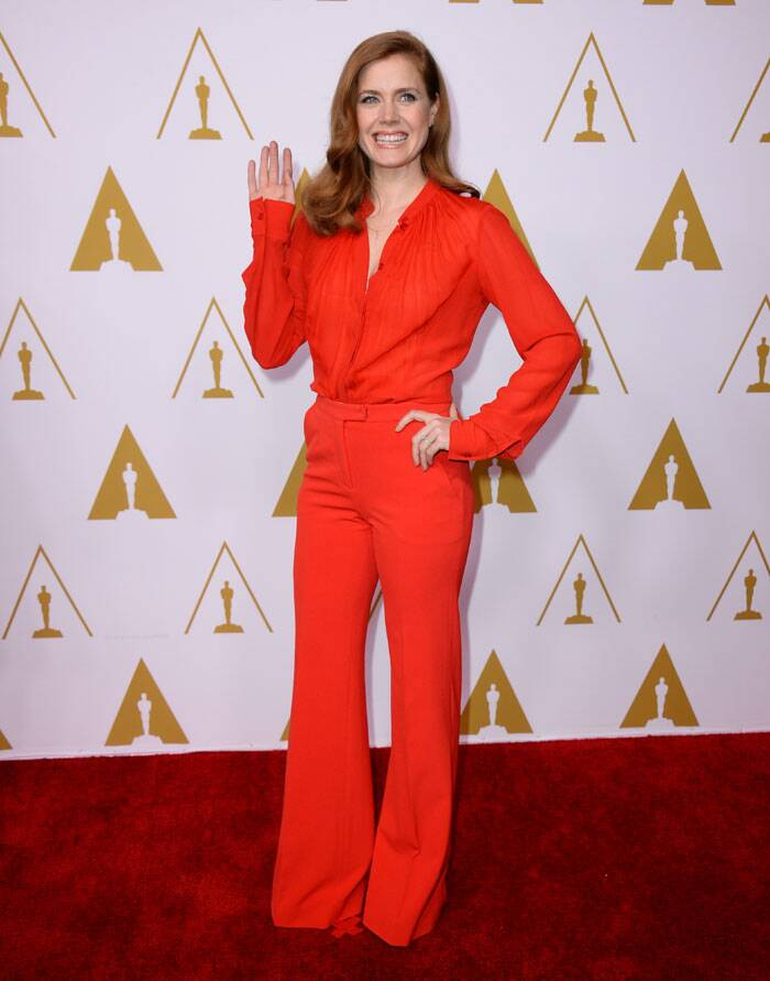 Actress Amy Adams was bright and smart in her 70s inspired outfit for the nominees luncheon. The 'American Hustle' actress did away with the jewellery which worked in her favour. (AP)