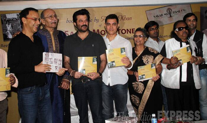 Old friends meet - Vidhu, Anil and Aamir get their own copy of Sagar Movietone. (Photo: Varinder Chawla)
