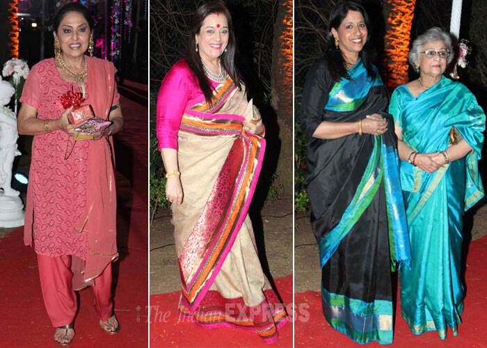 Actress Anju Mahendru wore a salwar suit while Poonam Sinha picked a sari with a fuchsia pink blouse. (Photo: Varinder Chawla)