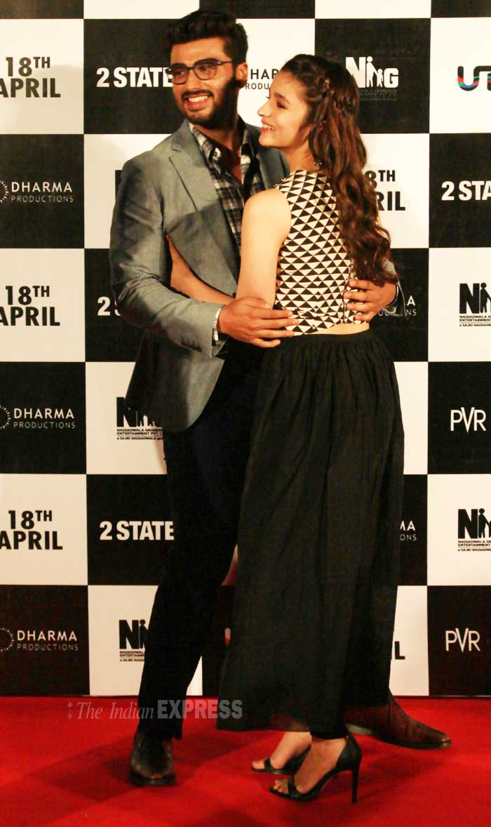Bollywood's rising stars Alia Bhatt and Arjun Kapoor launched the first look of their upcoming rom com '2 States' in Mumbai on Friday (February 28). (IE Photo: Amit Chakravarty)