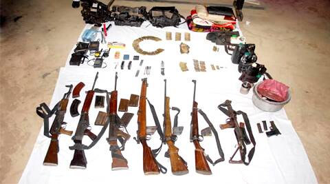 Police recovered two AK-47, two SLR, one carbine, one .303, one 12-bore gun, a pistol and a walkie-talkie from the spot, along with a lot of other material.