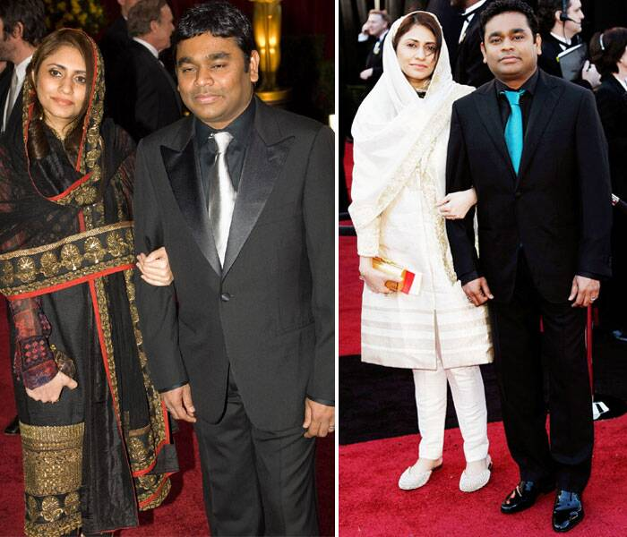 A R Rahman who received two Oscars awards for 'Slumdog Miliionaire' in 2009 came in with his wife Saira. <br /><br /><b>LEFT</b>: In 2009 Rahman was dapper in a Lavin suit and teamed it with a Sabhyasachi tie. While Saira looked pretty and simple in a Sabhyasachi suit. She picked Lieber clutch to finish off her look.<br /><b>Right</b>: In 2011, A R looked picked a Corneliani suit while Saira looked beautiful in a custom Rahul Mishra that she paired with Farah Khan Ali jewellery and a gold Leiber clutch.