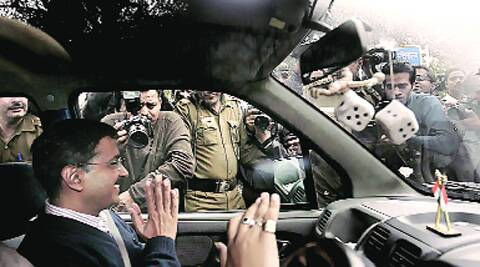Arvind Kejriwal leaves the L-G's house. (Express photo)