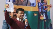 Chief Minister Arvind Kejriwal addresses the auto-rickshaw mahasabha in Burari on Friday. (Prem Nath Pandey)