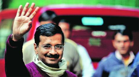 Arvind Kejriwal at his residence on Saturday. Prem Nath Pandey
