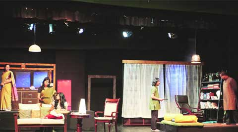 The actors rehearsing for the play before facing the audience