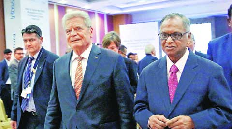 German President Joachim Gauck with Infosys chief N R Narayana Murthy in Bangalore Friday. PTI