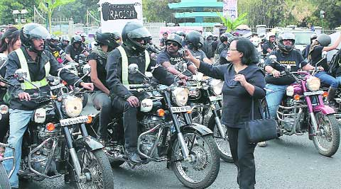 Members of Royal Enfield Riders Club participate in the Bikers Against Racial Discrimination ride in Bangalore Monday to express solidarity with the people of Northeast. The ride from Town Hall to HSR Layout was organised by Brotherhood of Bulleteers Motorcycling Consortium. www.pics4news.com