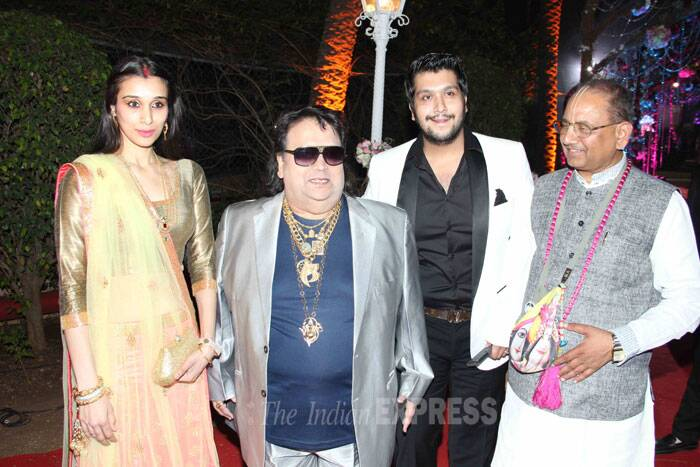 King of Disco, Bappi Lahiri attended the reception along with his son Bappa Lahiri and daughter-in-law Tanisha Verma. (Photo: Varinder Chawla)