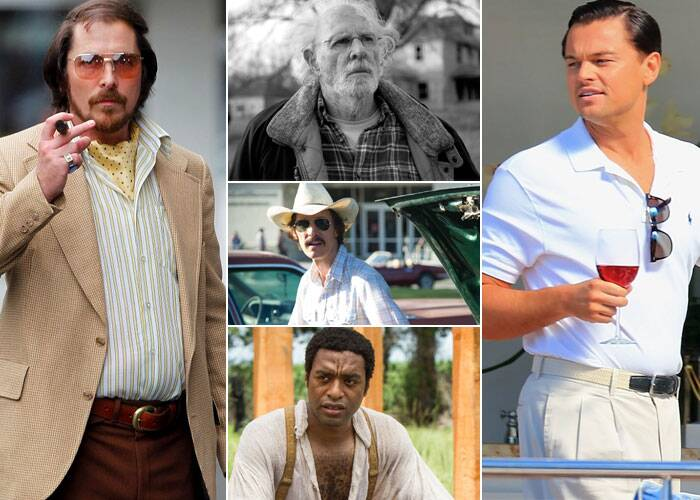 BEST ACTOR<br /><br />Christian Bale: American Hustle<br />Bruce Dern: Nebraska<br />Leonardo DiCaprio: The Wolf of Wall Street<br />Chiwetel Ejiofor: 12 Years a Slave<br />Matthew McConaughey: Dallas Buyers Club