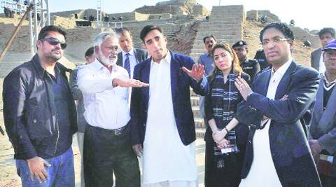 Bilawal Bhutto Zardari (third from left) visits the site of Sindh Cultural Festival in ruins of Mohenjo Daro to monitor the preparations. (AP)