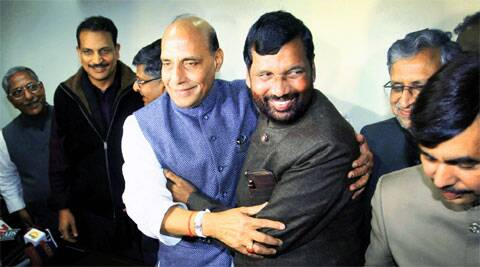 Paswan with Rajnath at the latter's Delhi residence Thursday. Oinam Anand