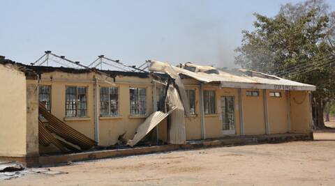 This phows the remains of the burned out Federal Government College in Buni Yadi, Nigeria. (AP)