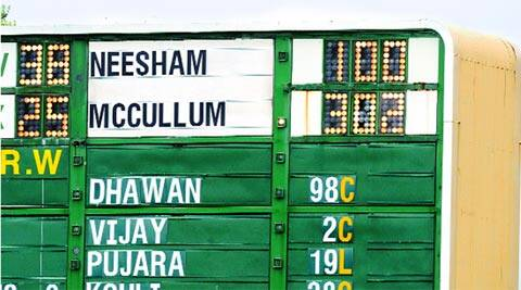 What can this caption say that this picture of the Basin Reserve scoreboard hasn't? (AP)