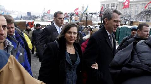 In the audio, Nuland and Pyatt discuss their views of various opposition figures and whether or not they should take positions in the government. (Photo: Reuters)