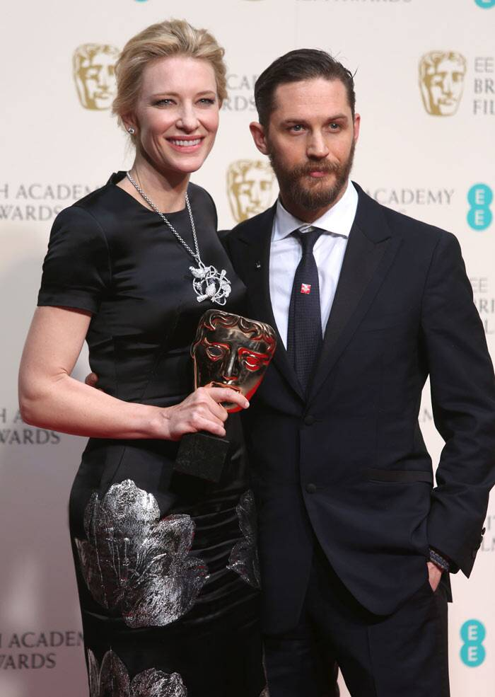 Cate was presented with the award by actor Tom Hardy. (AP)