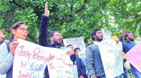Students protest outside the V-C's office at Panjab University on Monday. (Sumit Malhotra)