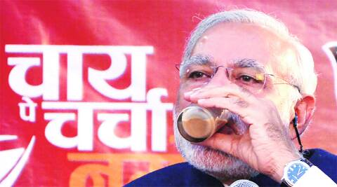 Narendra Modi sips between statements from an Ahmedabad tea stall. (Photo: Javed Raja)