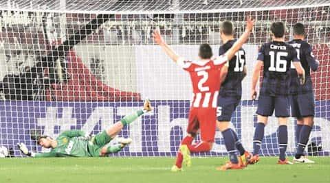 Olympiakos' Alejandro Dominguez scored past United goalkeeper David de Gea in the 38th minute (AP)
