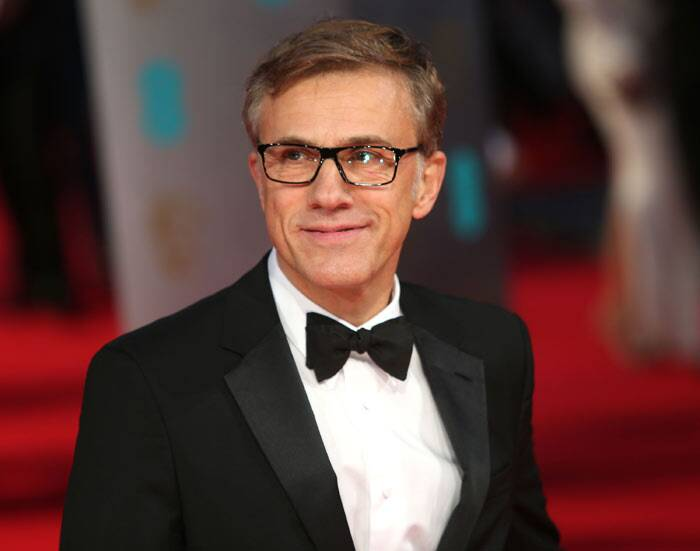 'Django Unchained' actor Christoph Waltz snapped smiling on the red carpet.