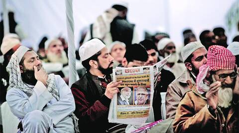 Imams at a convention on Lok Sabha elections held at the Jama Masjid on Saturday. PRaveen Khanna