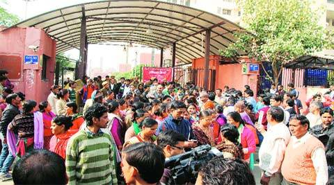 The crowd outside the Dwarka fast-track court on Wednesday. (Gajendra Yadav)