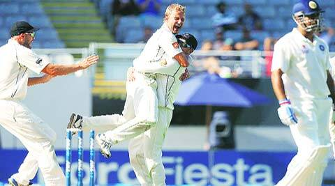 Neil Wagner (centre) celebrates after dismissing Indian skipper MS Dhoni. The pacer picked up four wickets in each innings of first Test. (Reuters)