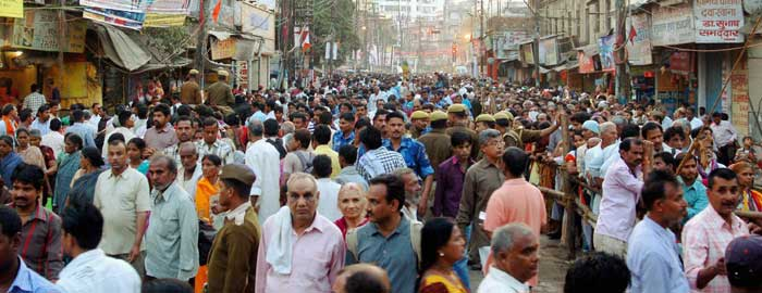 People gather to celebrate Maha Shivratri festival on the eve of Maha Shivratri in Varanasi. (PTI)
