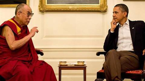 Obama played 'dumb' at his meeting with the Dalai Lama at the White House on Thursday. (Reuters)